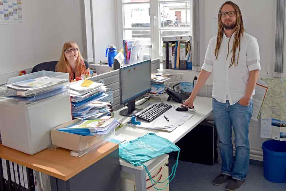 und Markus Böhm von der ibt/bodensee.eu - hier bei einem Besuch im Konstanzer Büro - haben die Ideen für die Bodensee-Tour mit der #bek organisiert.