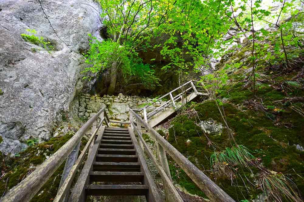 Holztreppe mit Mauer