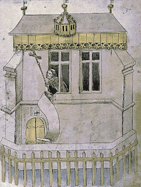Zeichnung mit Bten, Kreuz und Fahne