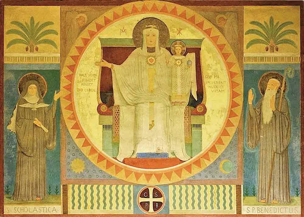 Malerei: Maria Himmelfahrt, hl. Benedikt und hl. Scholastika