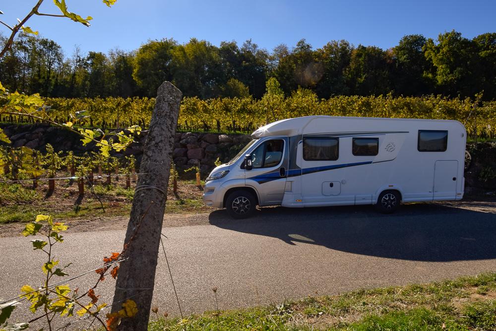 Wohnmobil an Weinreben