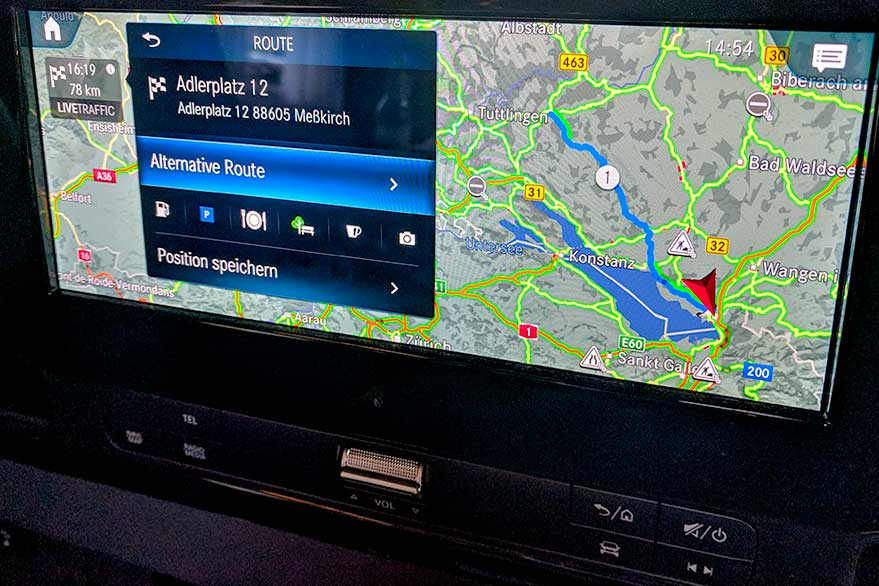 Navigation auf dem MBUX-Display