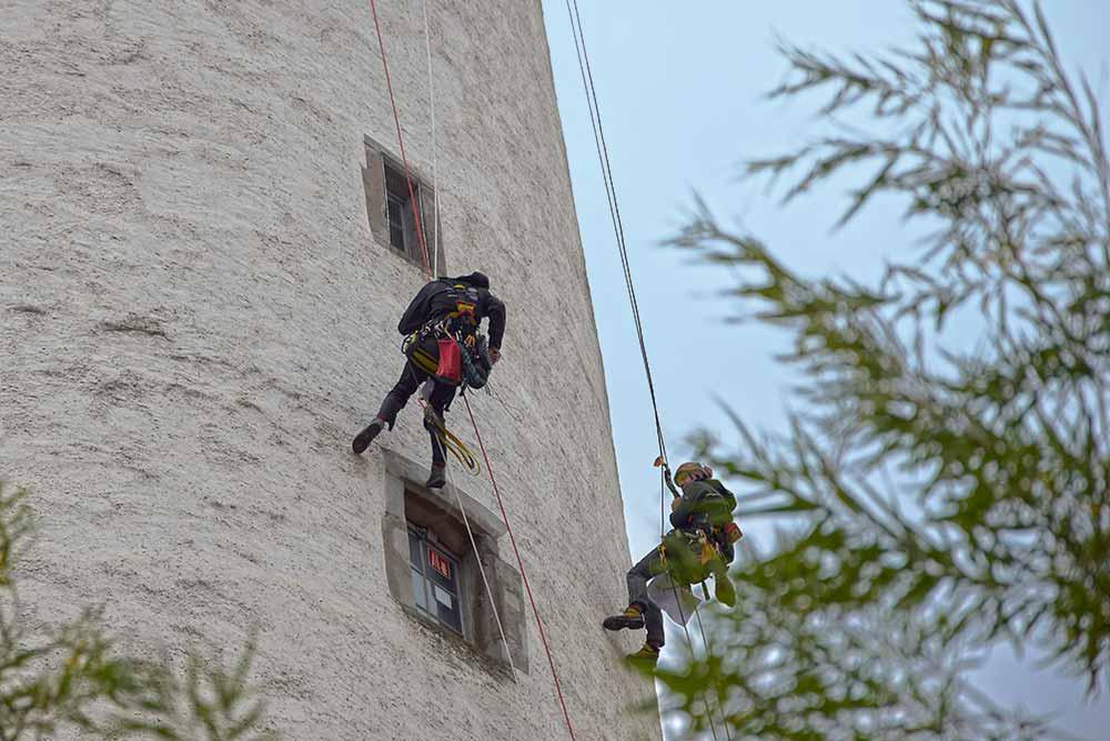 Kletterer am Mehlsack in Ravensburg