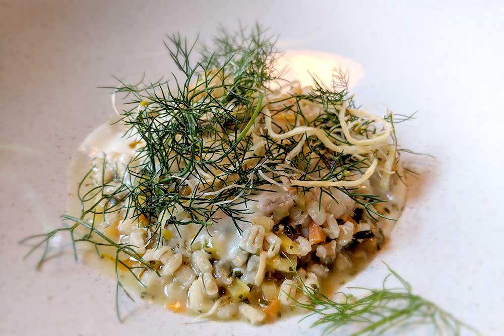Getreide-Rissotto im Restaurant Resje Bohinj