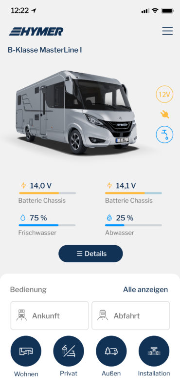 Hymer Connect App User Interface